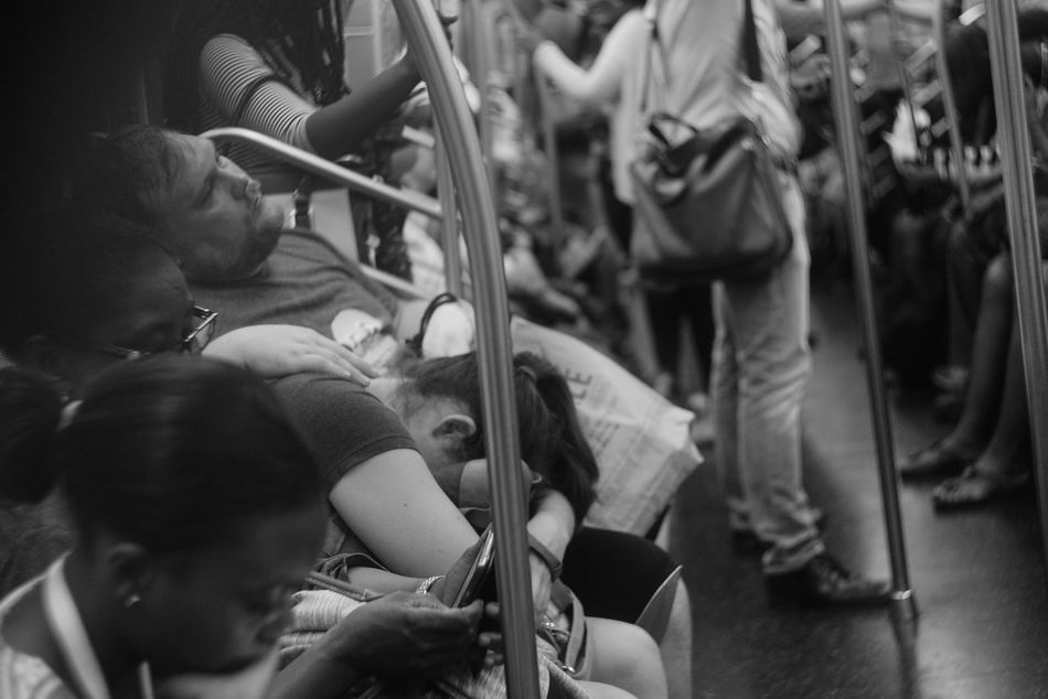 Blackandwhite Despair Indoors  Metro Station New York New York City Nycmetro People Photography Person Streetphotography Tired