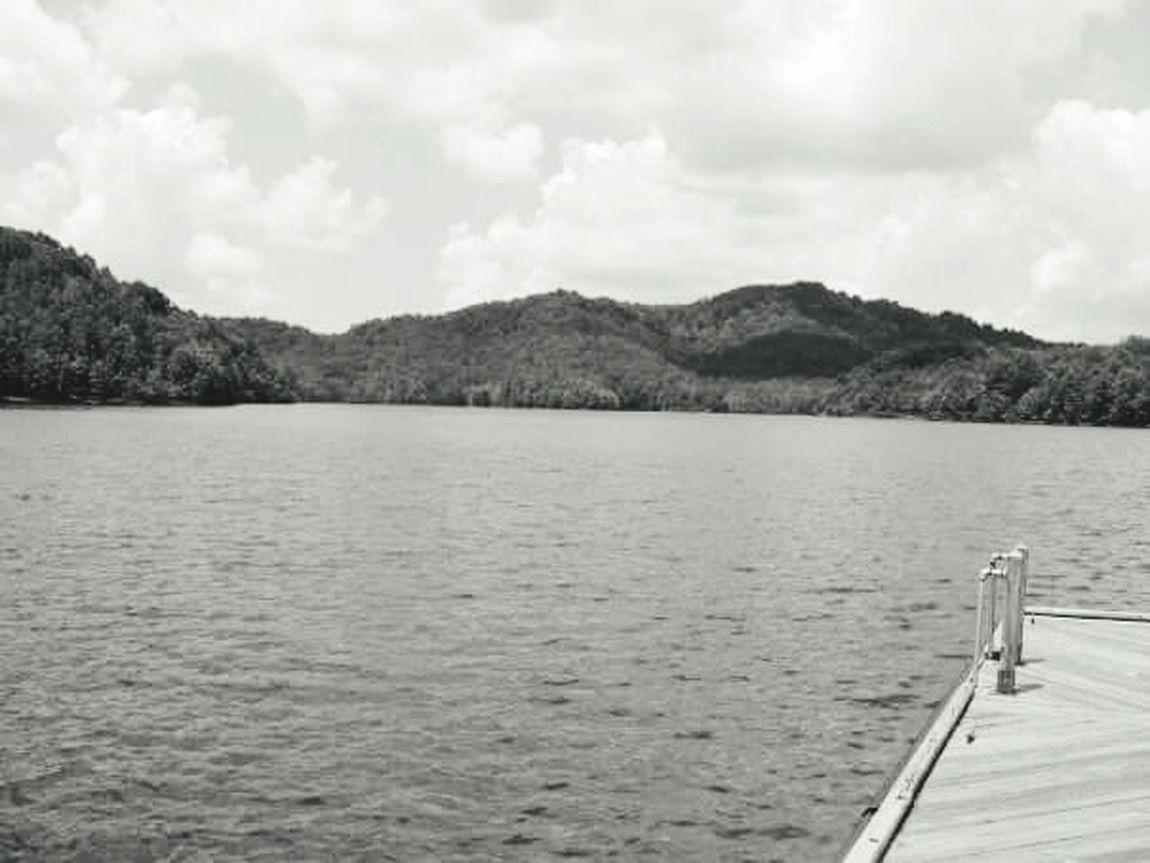 Lake View Dock Mountains Black & White