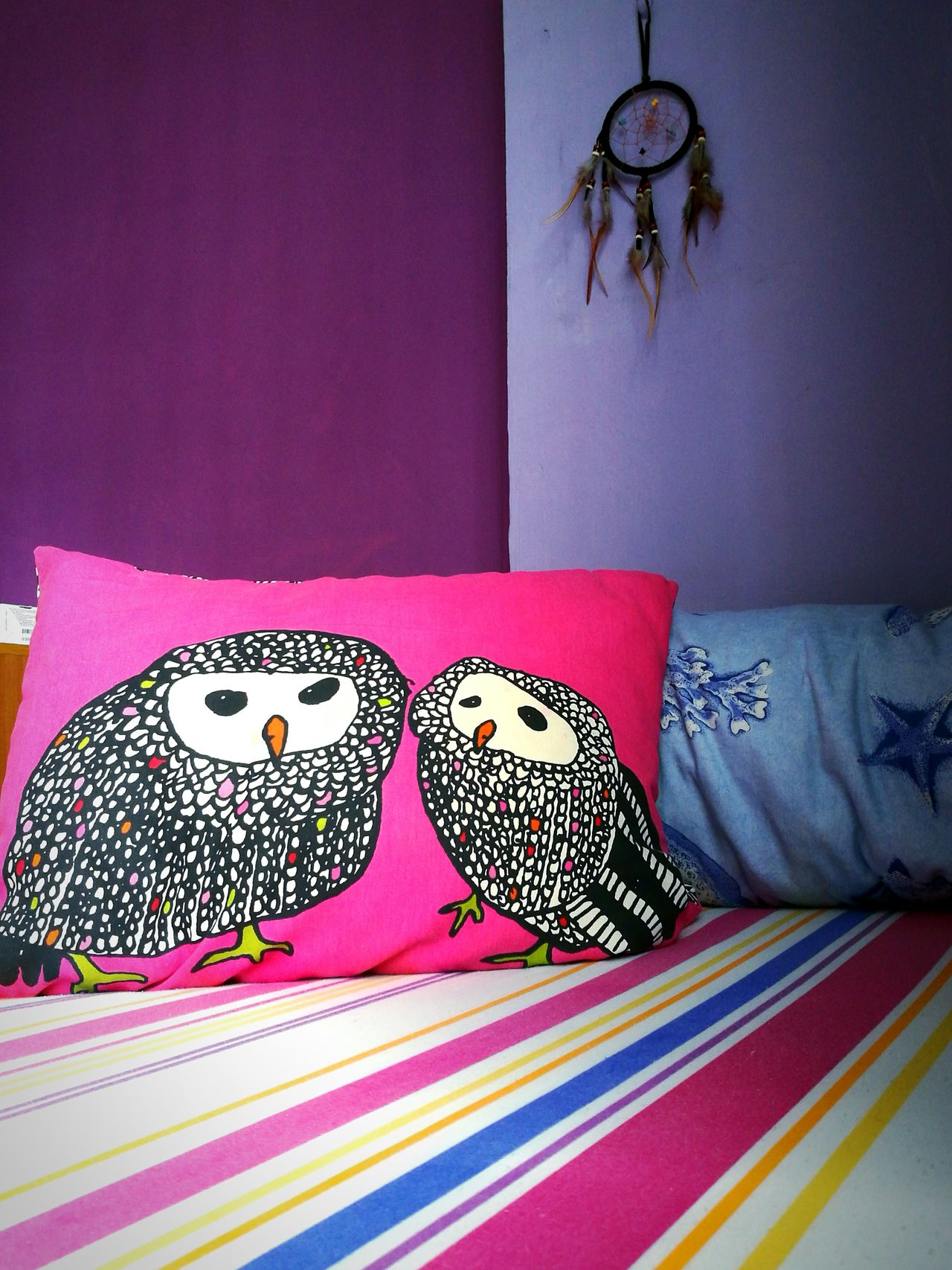 My Favorite Place My Space Indoors  No People Personal Space Cushions  Pillows Dream Catcher Pink And Purple Purple Wall Soothing Invigorating Comfortable Comfycozy Soft Warm Light Snoozing Afternoon Nap