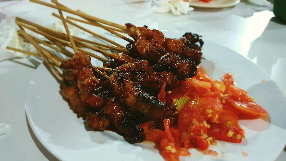 Food And Drink Food Plate Beef Chilies Satay With Bamboo Stick Yummy Traditionalfood Indonesian Food First Eyeem Photo