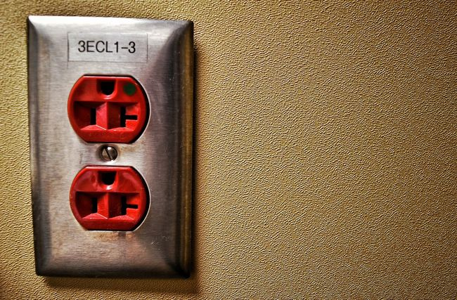 Electrical Outlet Electricity  Hospital Room Numbers Outlet Plugin Power Power Plug Red Shiny Speckled Wall