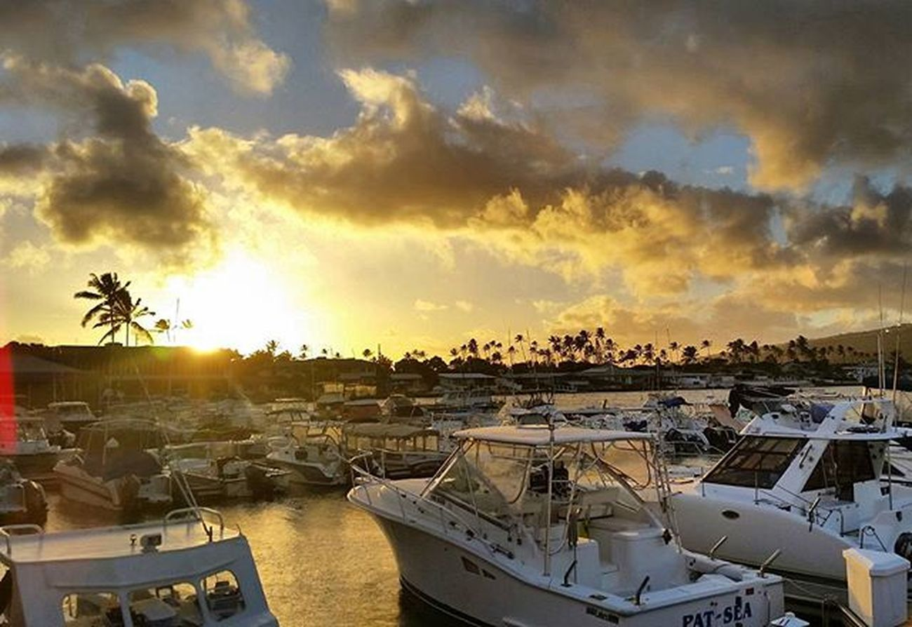Golden skies Hawaii Oahu Hawaiikai Kokomarina Luckywelivehawaii Sunset Sun Sea Boat Golden Clouds Cloudporn Yellow Landscape Warmth Instamoment Instagramers Instagood Instadaily Instamood Instasun Instagramhawaii