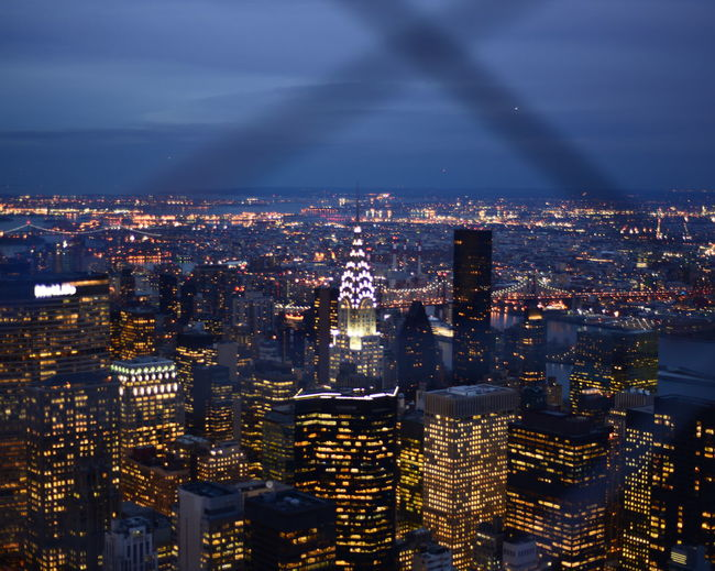 Aerial View Architecture Building Building Exterior Built Structure Chrysler Building City City Life Cityscape Community Composition Crowded Development Human Settlement Illuminated Lens Flare Modern New York City Night Outdoors Perspective Residential District Residential Structure Skyscraper Top Perspective