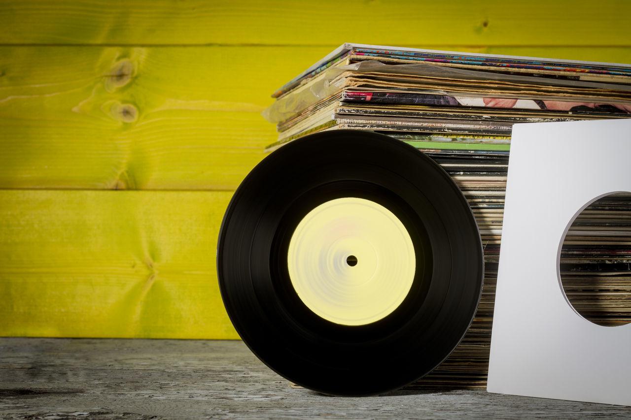 Vinyl Records Rock Music Vinyl Retro Vintage Colors Yellow Lemon By Motorola