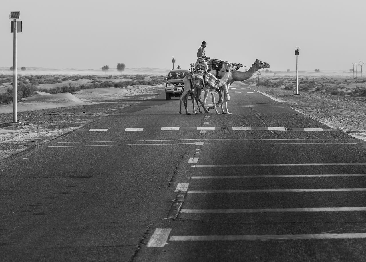Crossing the road Air Vehicle Airplane Airport Runway Day Finish Line  Men Motorcycle Outdoors People Riding Road Sky Transportation