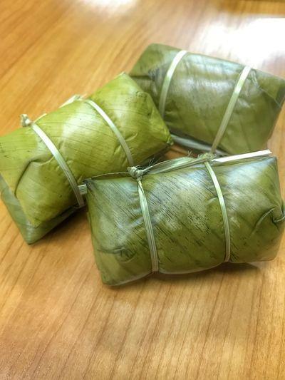ข้าวต้มมัด Khao Tom Mud Banana With Sticky Rice Thai Dessert Dessert Green Banana Leaf