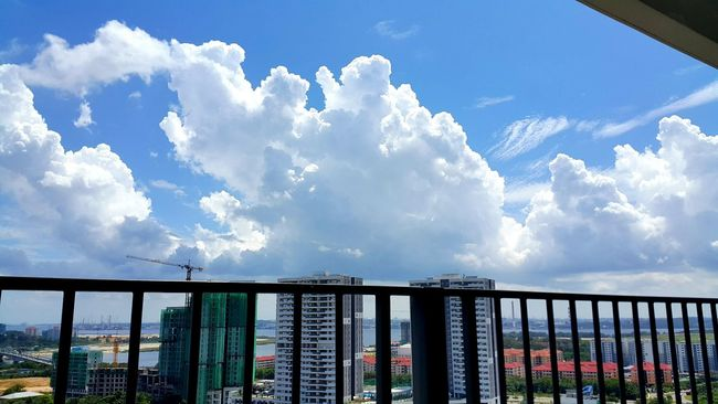 Wow, what huge clouds forming from my balcony view..❤❤ My Point Of View My Perspective Beautiful Sky Clouds And Sky Sky And Clouds Skyporn Cloudsporn Sunny Day Beautiful View Blue Sky Blue And White Big Clouds