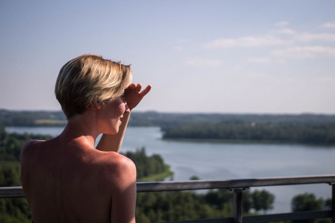 Beauty In Nature Blond Hair EyeEmNewHere High Angle View Horizon Horizon Over Water Landscape Nature Nature One Person Outdoors Overview People People Watching Portrait Of A Woman Sky Standing Travel Traveling View Viewpoint Watching Water Women Young Women