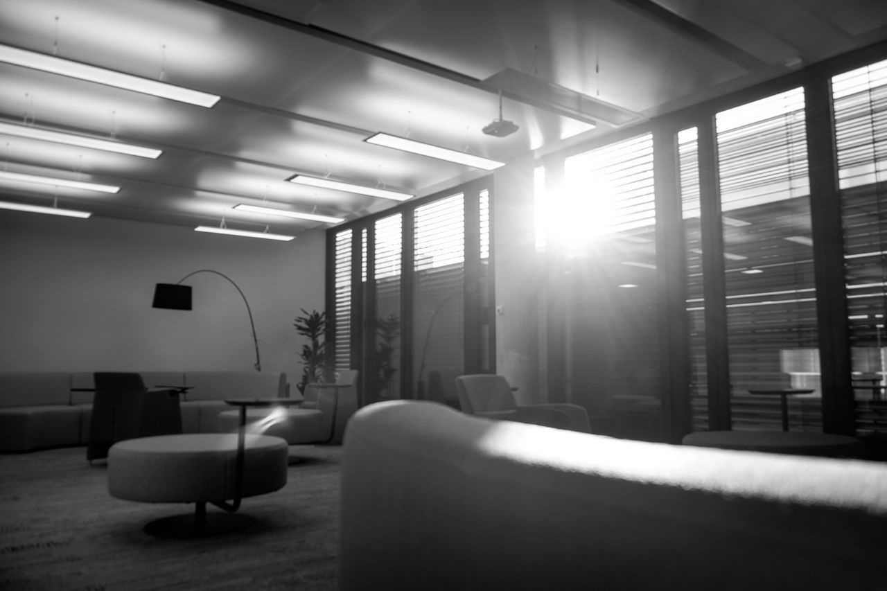 Back Lit Couch Indoors  Modern No People Office Office Interior Officelife Place Of Work Sofas Work Life Workspace