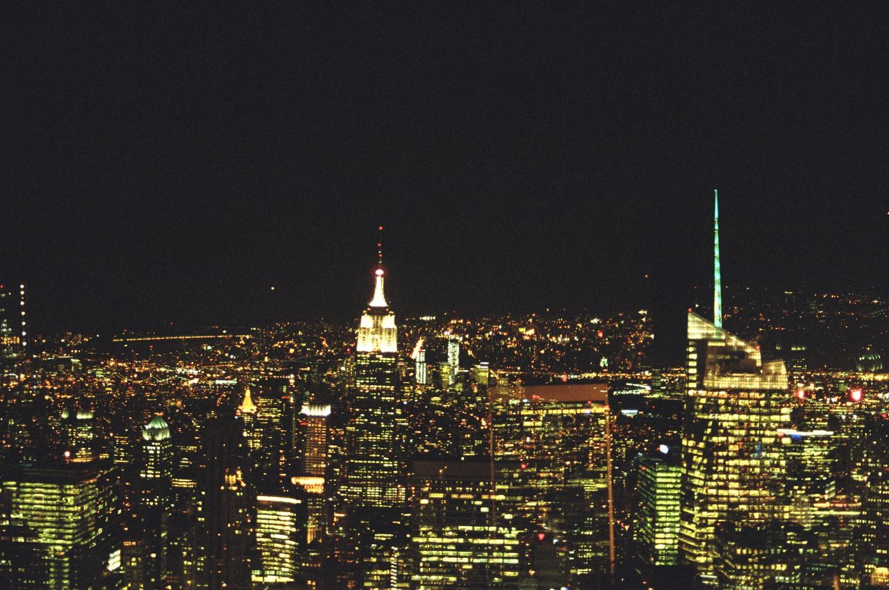 Analogue Photography Architecture Built Structure Capital Cities  City City Life Cityscape Dark Double Exposure Film Photography Financial District  From Above  Illuminated Light Modern New York City Night Skyscraper Tall - High Top Of The Rock Tower Urban Skyline