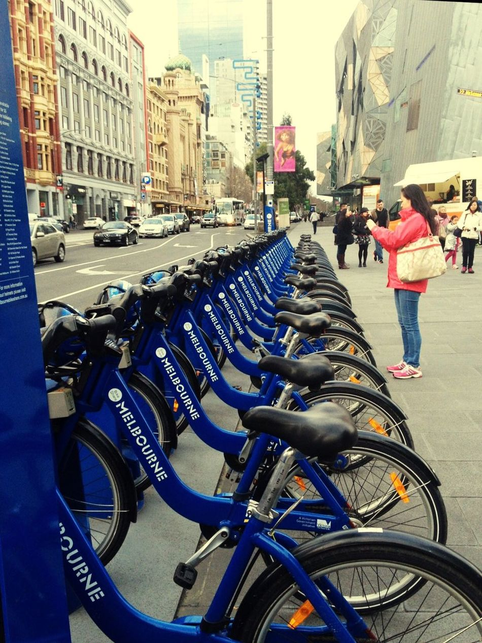 Welcome to Melbourne ❤ City Transportation Building Exterior Street Land Vehicle Mode Of Transport City Street Outdoors City Life Built Structure Architecture Day People Adult Bicycle Melbourne Melbourne City Flinders St #Melbourne