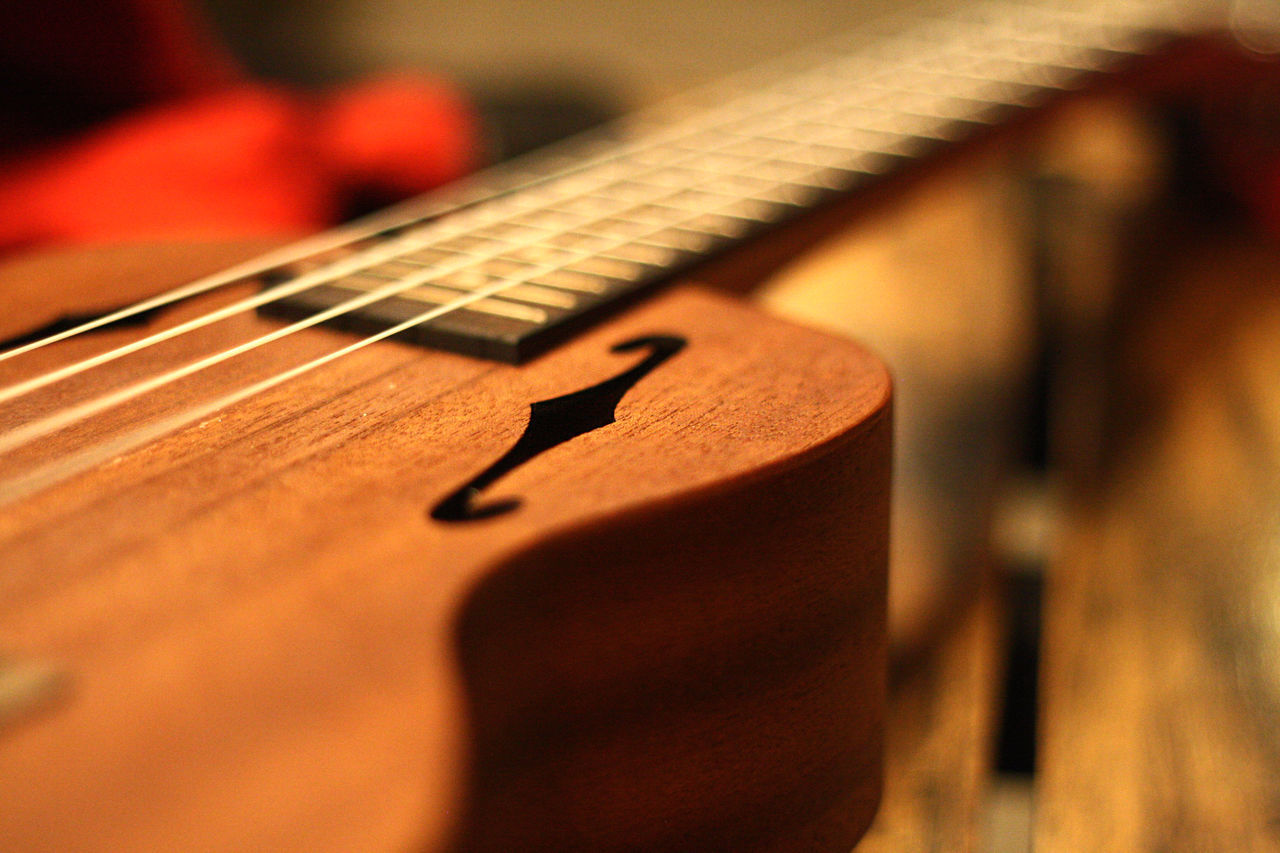 ukelele on the table Arts Culture And Entertainment Close-up Focus On Foreground Four Strings Indoors  Music Musical Equipment Musical Instruments Selective Focus Still Life Ukelele Wood - Material