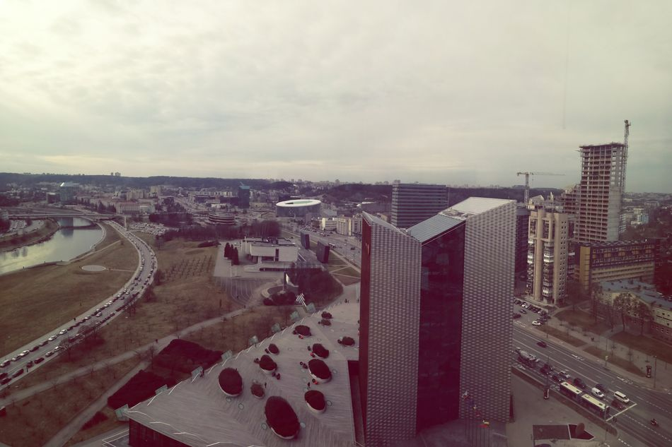 Skybar view. City Aerial View Architecture City Life Urban Skyline Swedbank National Art Gallery Flying High