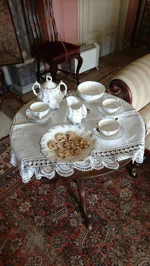 Indoors  Food And Drink Drink Table High Angle View Refreshment Coffee - Drink Plate Tea - Hot Drink One Person Healthy Eating Breakfast Sitting Day People Food One Man Only Freshness Close-up Historical Building Old Buildings History Stately Home House Furniture
