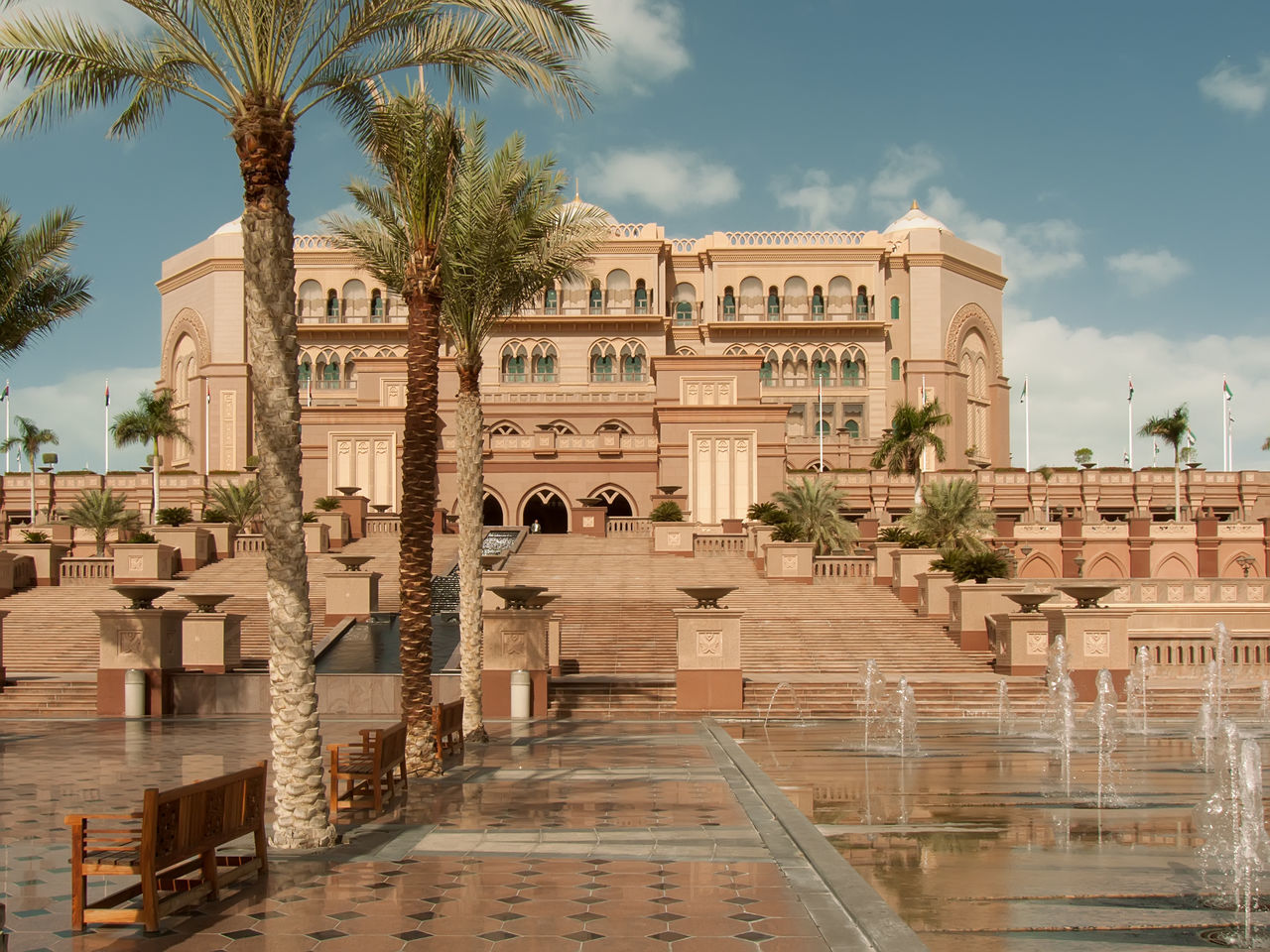 Emirates palace Abu Dhabi Architecture Bench Benches Building Exterior City Clouds Dream House UAE Emirates Emirates Palace EmiratesPalace Home Exterior House King's Home Outdoors Palm Tree Palms Royal Palace Sky Sky And Clouds Super House Tiles Travel Destinations Tree
