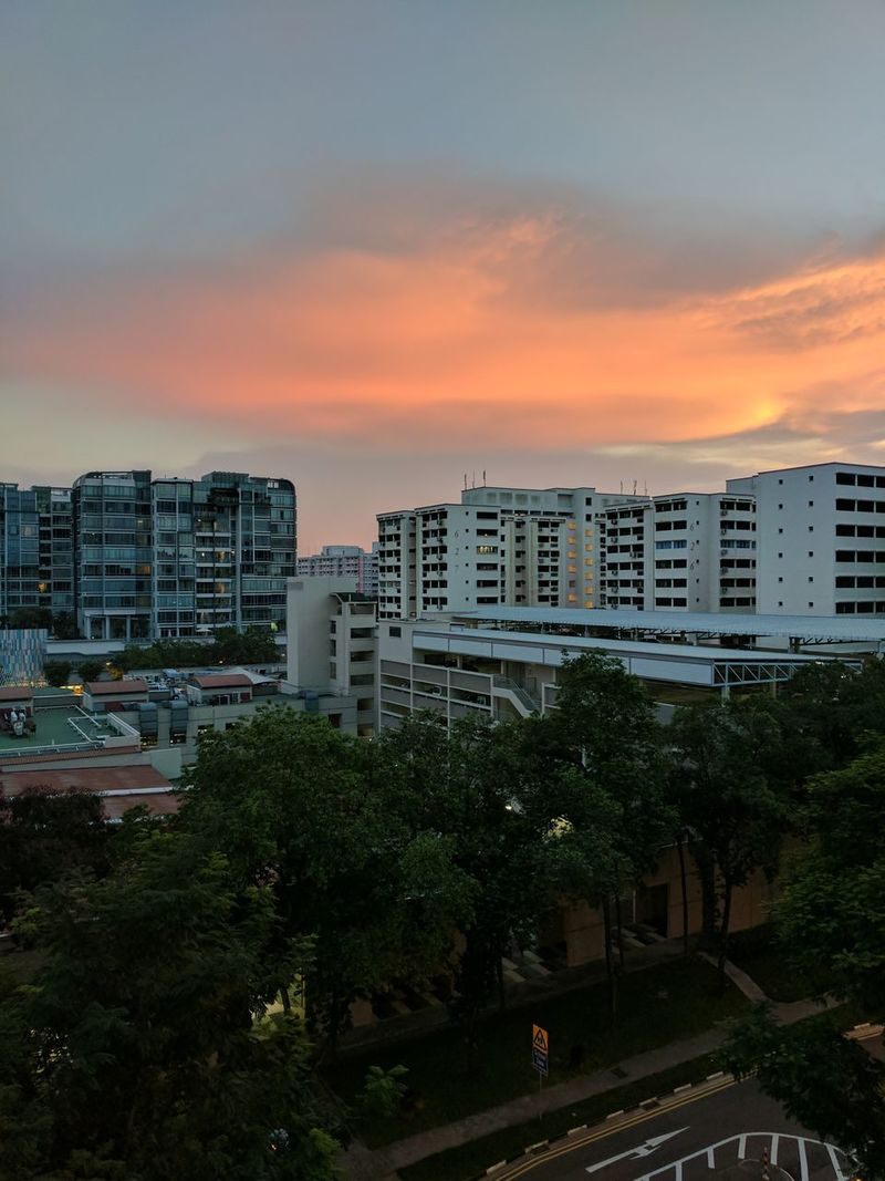 Sunset Cityscape Apartment Architecture Residential Building Illuminated Sky City Street Outdoors