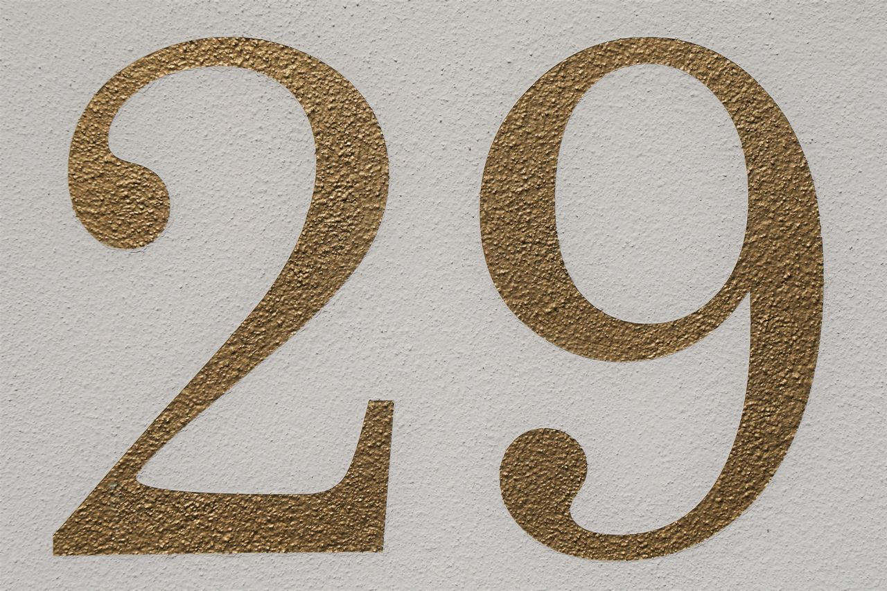 29 Close-up Gold Gold Colored Golden House Number Number Number 29 Numbers Painted Wall