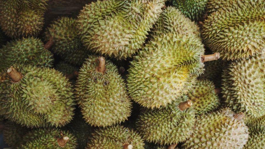Enjoy Eating Durian Long Shaft Delicious King Of Fruits Thorn Fruit in Bangkok, Thailand