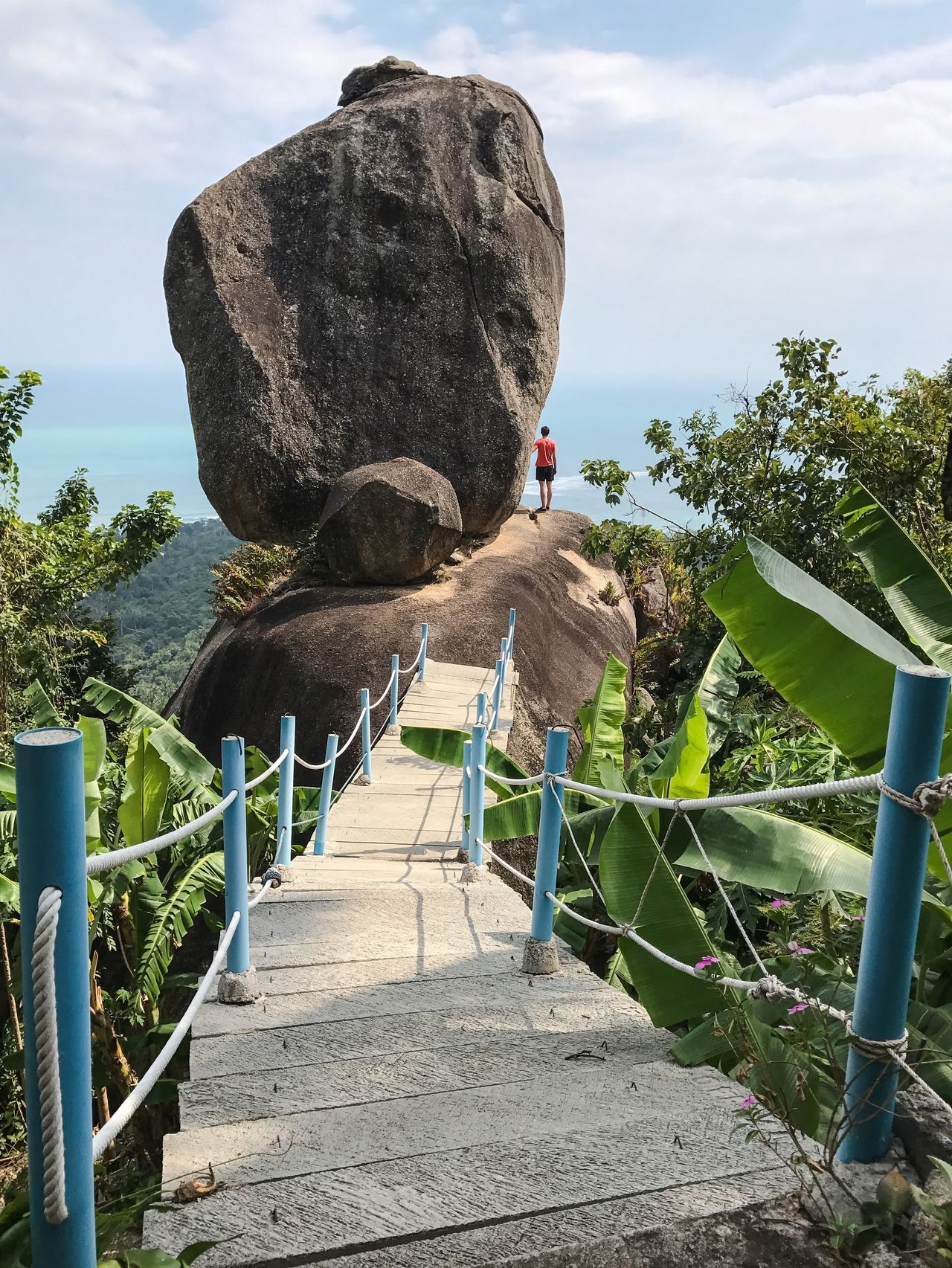 Adult Adults Only Adventure Beauty In Nature Bridge Cloud - Sky Day Full Length Hiking Koh Samui Leading Lines Leisure Activity Nature On Top One Man Only One Person Outdoors People Rear View Rock - Object Rock Formation Sky Standing Tourist Attraction  Travel Destinations