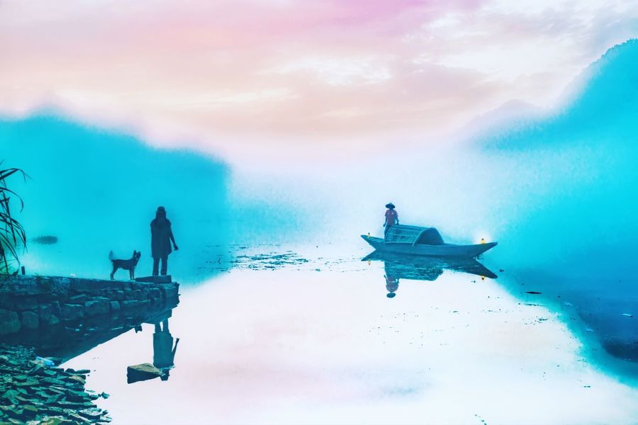 Mountain and lake of Chinese painting Taking Photos Travel Photography EyeEm Best Shots Reflection_collection Fog Mountains Enjoying Life Traveling Colorful Sky And Clouds From My Point Of View Fine Art Photography Morning Pictures Village Life Village Village View Colour Of Life
