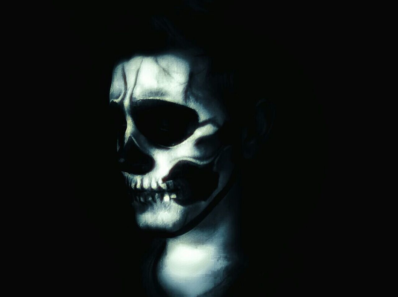 Spooky Mystery Black Background Horror Evil Dark One Person Adults Only Close-up One Man Only Adult People Silence Indoors  Only Men Studio Shot Real People Human Skin Skull Face Skeleton EyeEmNewHere Human Body Part Monster Creativity
