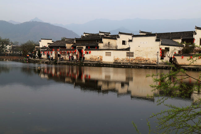 Village Photography Historic Towns China Town Historic Building Historic City Inverted Reflection In Water Building Story Inverted Images Tree And Sky Historical Building Relections Chinese Culture Architecture River View
