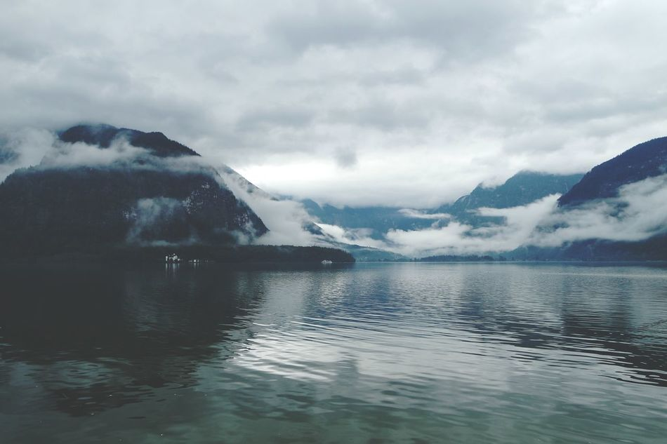 Austria Beauty In Nature Clouds Foggy Hallstatt Lake Mountain Nature Outdoors Tranquility Water