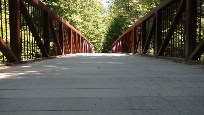 Low Angle View Low Bridge Bike Trail Adventure Outdoors Walking Path Outisde Railings