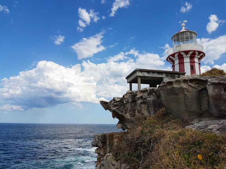 Hornby Lighthouse Sky Architecture Cloud - Sky Sea Travel Travel Destinations Water No People Business Finance And Industry Outdoors Horizon Over Water Statue Day