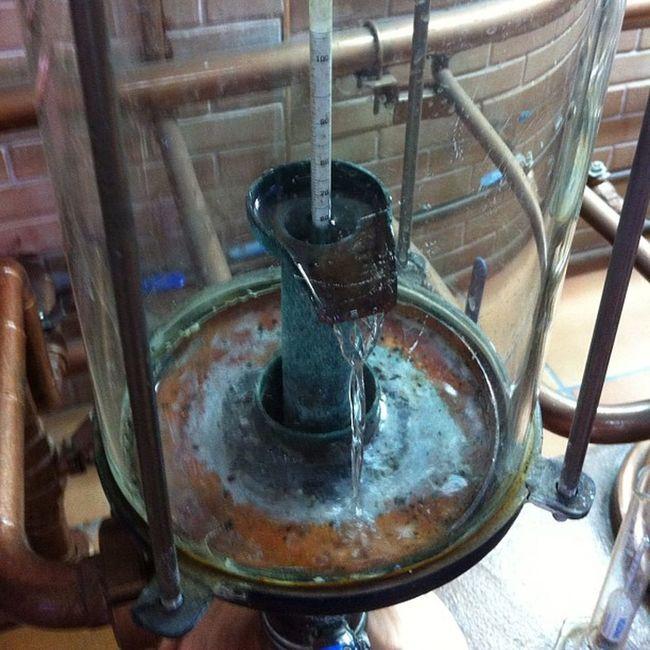 Esto que veis es el destilado Verum Gewürztraminer... Así, poco a poco, casi gota a gota. Increíble.
