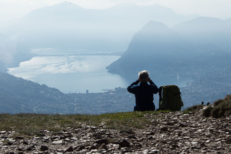Admiring The View Adult Adults Only Beauty In Nature Day Fog Landscape Monte Bar Mountain Mountain Range Mountainer Tranquility Nature One Man One Man Only Outdoors People Sitting Snap a Stranger Travel Miles Away
