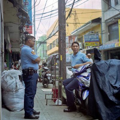 Analog Building Exterior Film Photography Manila Phillipines Manila Police Medium Format Occupation Outdoors Police Men Quiapo Real People Rolleiflex Rolleiflex 2.8F Street Street Photography The Street Photographer - 2017 EyeEm Awards