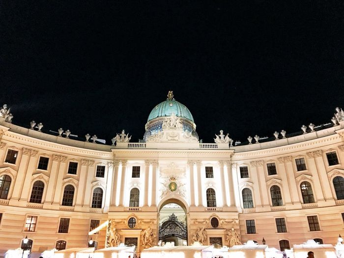 Architecture Dome Built Structure Travel Destinations Building Exterior Night History Low Angle View Architectural Column Statue Clear Sky Illuminated Outdoors Sky Simmetry Hofburg Vienna Shotoniphone7 Illumination Imperial Palace