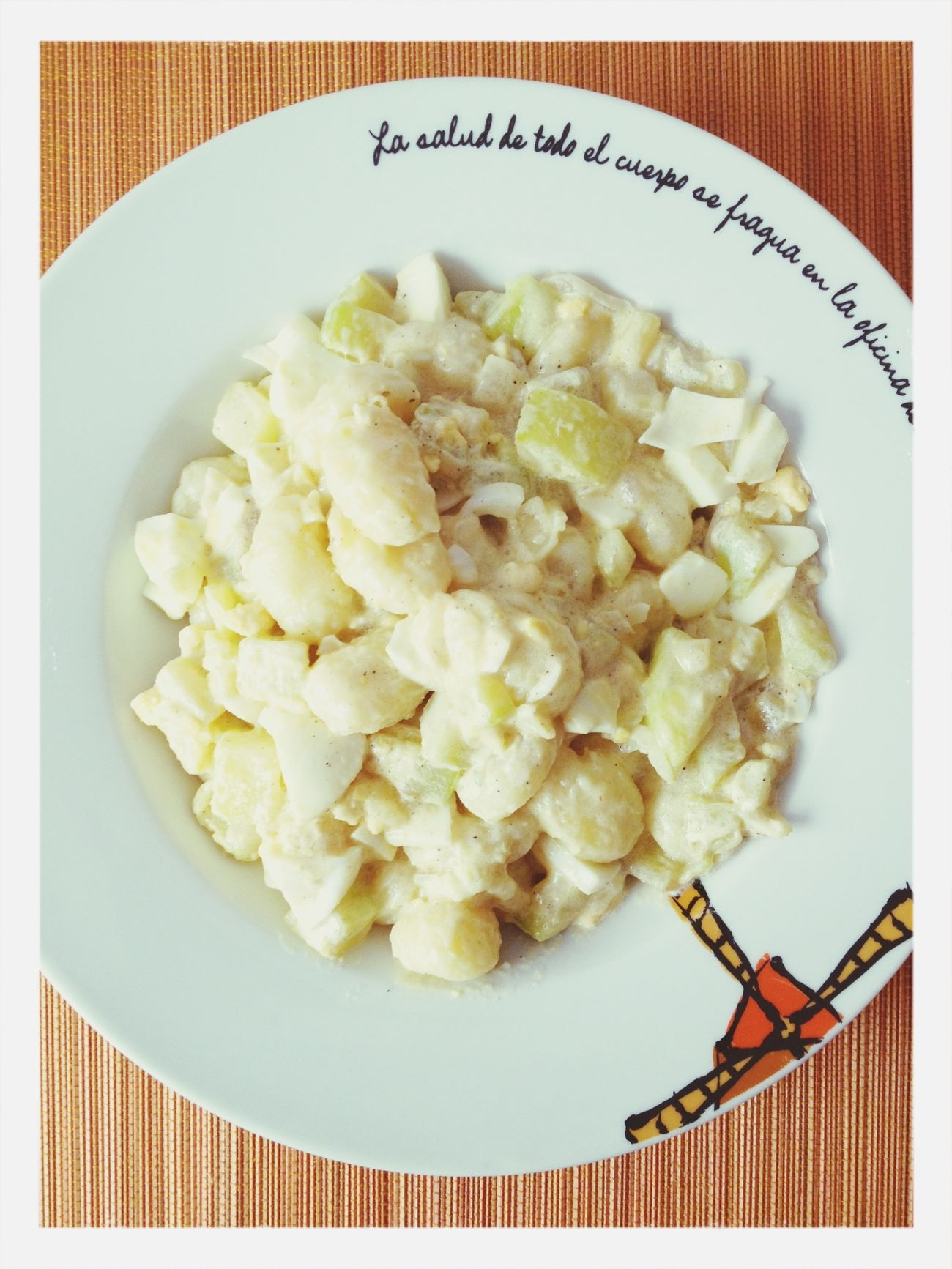 Gnoccis with zuchinni, onion, boiled egg and cream. Food Vegetarian Food Italian Food Gnocci