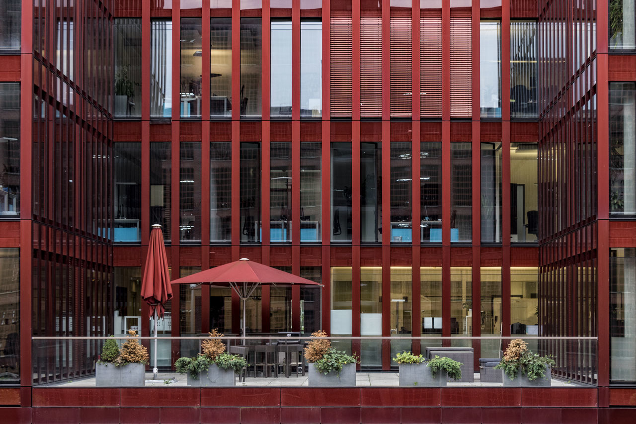 Am Sandtorkai Architecture Building Exterior Built Structure City Day Façade Hafencity Hamburg Hamburg Harbour Modern Architecture No People Outdoors Red Parasols Window