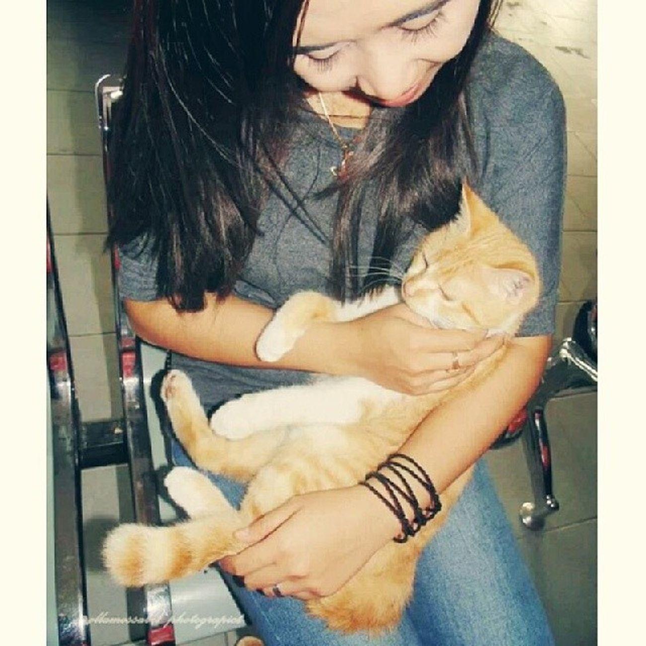 Me and Kucing penunggu Lapangan Tembak PERBAKIN kalimantantengah ~ … ntah siapalah nama ni kucing tapi sumpeeehh ini cuma kucing kampung yang mirip banget sama kucing anggora … aslinya tu badan gede bingittt and bulunya lebattt ~ … molome