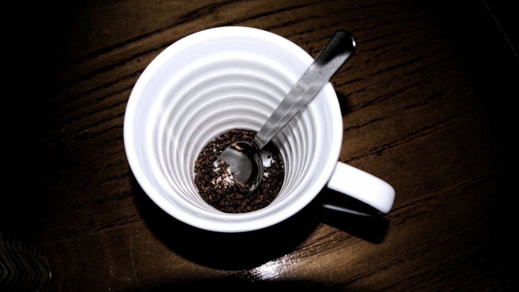 Morning Coffe Beverage Bowl Close-up Coffee Coffee - Drink Coffee Cup Cup Directly Above Elevated View Freshness Morning No People Overhead View Refreshment Saucer Served Serving Size Spoon Spoon Still Life Table Tea Cup White Cup Wood - Material Wooden A Bird's Eye View