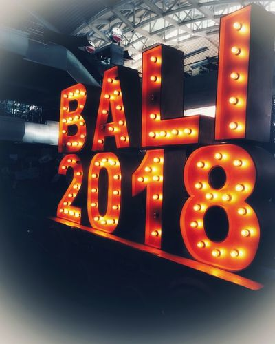 Arrivals Airport Neon Sign Travelling Welcome To Bali Bali Welcome Illuminated Text Communication Night Neon No People