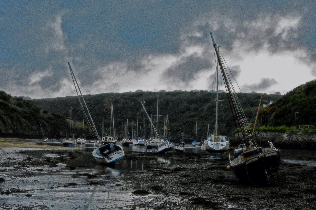Beauty In Nature Cloud - Sky Day Mast Mode Of Transport Moored Nature Nautical Vessel No People Outdoors Pembrokeshire Coast Sailboat Sky Solva Transportation Tree Water