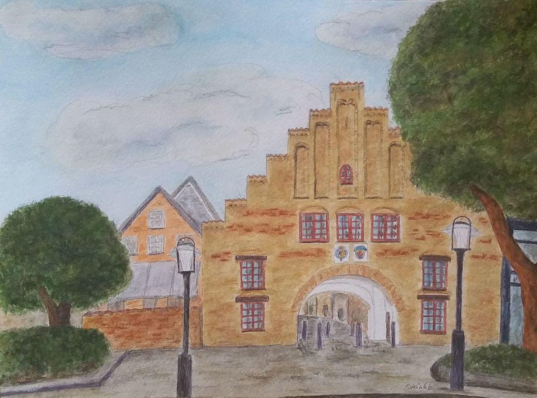 Flensburger Nordertor Flensburg ArtWork Aquarell Aquarellpencil Kunst Painting Gate Watercolor Painting Town Architecture Art Landscape