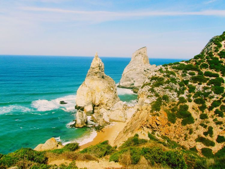 Algarve - Portugal-colours Nature Sea Beauty In Nature Scenics Rock Formation Sky Rock - Object Horizon Over Water Water Tranquility Tranquil Scene Day No People Portugal Praia Ursa Summer The Secret Spaces Long Goodbye EyeEmNewHere