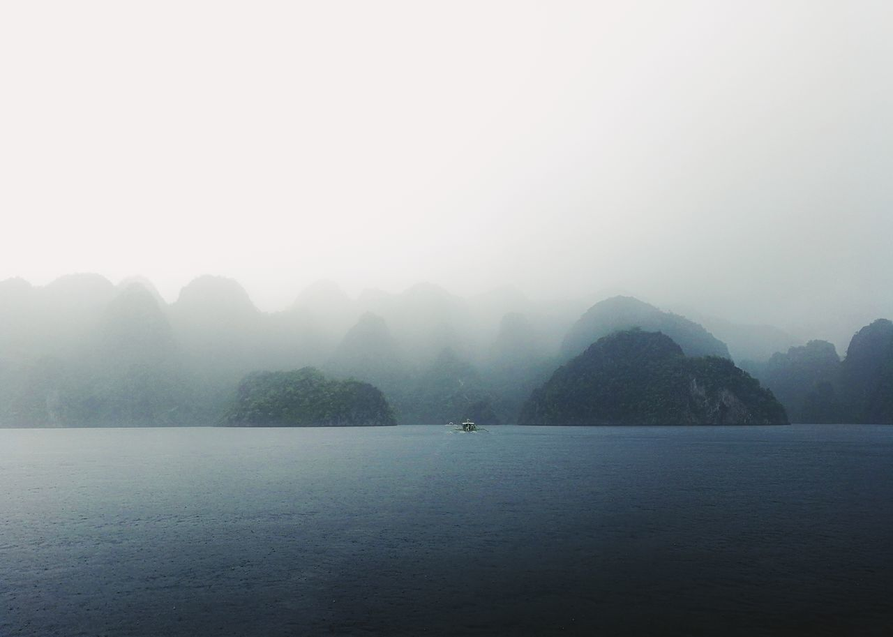 Fog Water Outdoors No People Tree Nature Beauty In Nature Cold Temperature Day Sky Sommergefühle Landscape Rain Coron, Palawan Eyeem Philippines Boat EyeEm Selects
