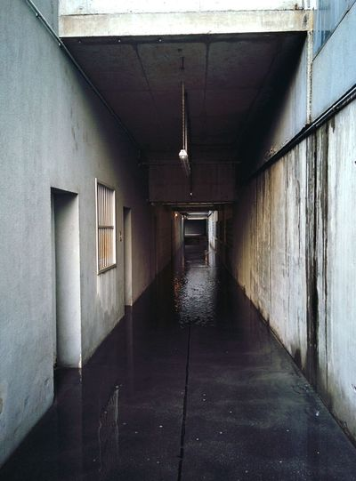 Welcome to little Venezia Flood Flooded Vanishing Point Dark Corridor Dark Contrast Mysterious Place Creepy Hallway Urban Decay Do Not Enter