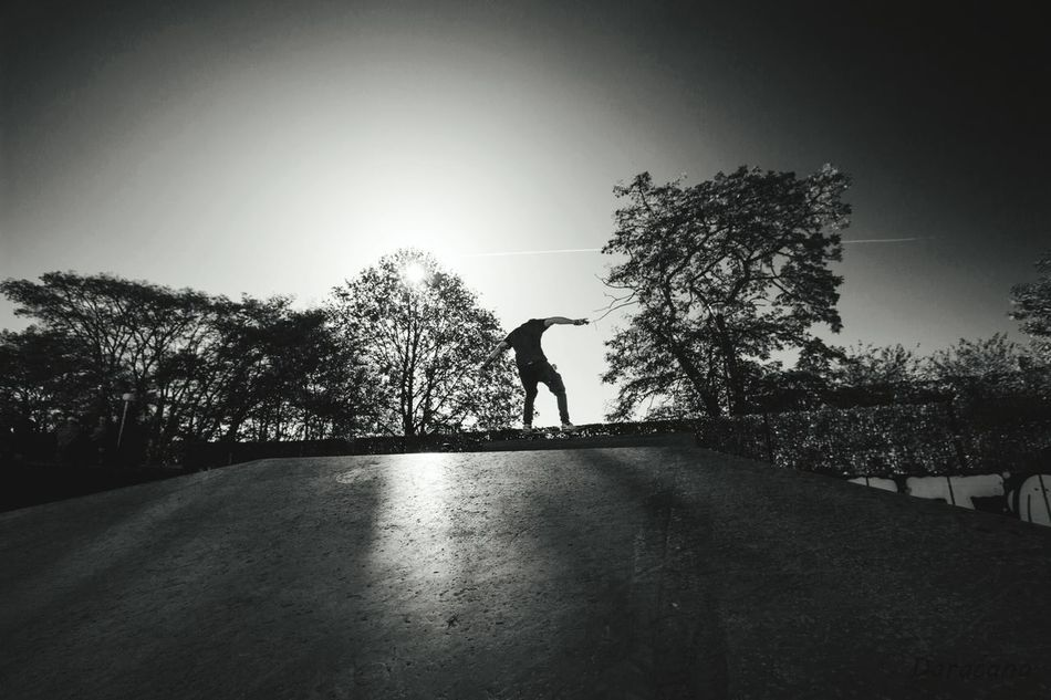 Kick and push One Person Silhouette Outdoors Skateboarding Skatepark Skateeverydamnday Skateboard Eyemphotography Eyem Best Shots - Black + White EyemEm Vision Eyem