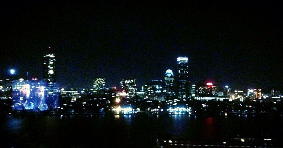 Boston Cambridge Night Lights Water
