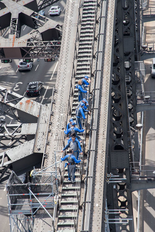 Sydney,NSW,Australia-November 20,2016: People climbing the Sydney Harbour Bridge in Sydney, Australia Stairs Sydney Harbour Bridge Tourist Adult Adventure Bridge Bridge Climb Bucket List Climbing Coveralls Day Full Length Group Of People Headwear Helmet High Angle View Jumpsuit Outdoors Real People Standing Steel Structure Togetherness Tourism Working