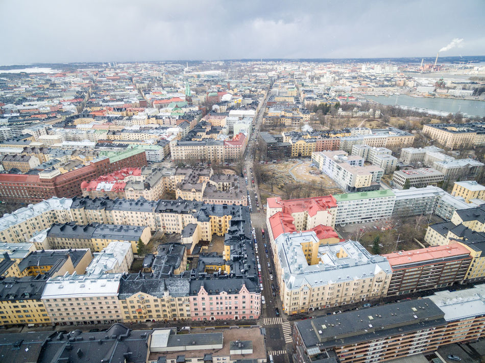 Drone shots from Helsinki on 24th of March 2017. Aerial View Architecture Building Exterior Built Structure City City City Life Cityscape Crowded Day Dji Drone  Flying High Helsinki House Lights Living Outdoors Residential Building Sky Spring Top Perspective Top View Travel Destinations Winter