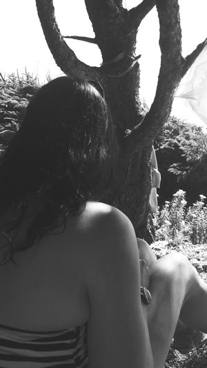 Adult Young Women Human Back Nature Outdoors Summer Waterfront Secret Places Eyeem Photography With A Smartphone One Person Beauty Eyeem Black And White Black And White Photography Best Friend Pacific Northwest Beauty Pacific Coast Picnic Spot Curly Hair Brunette Beauty