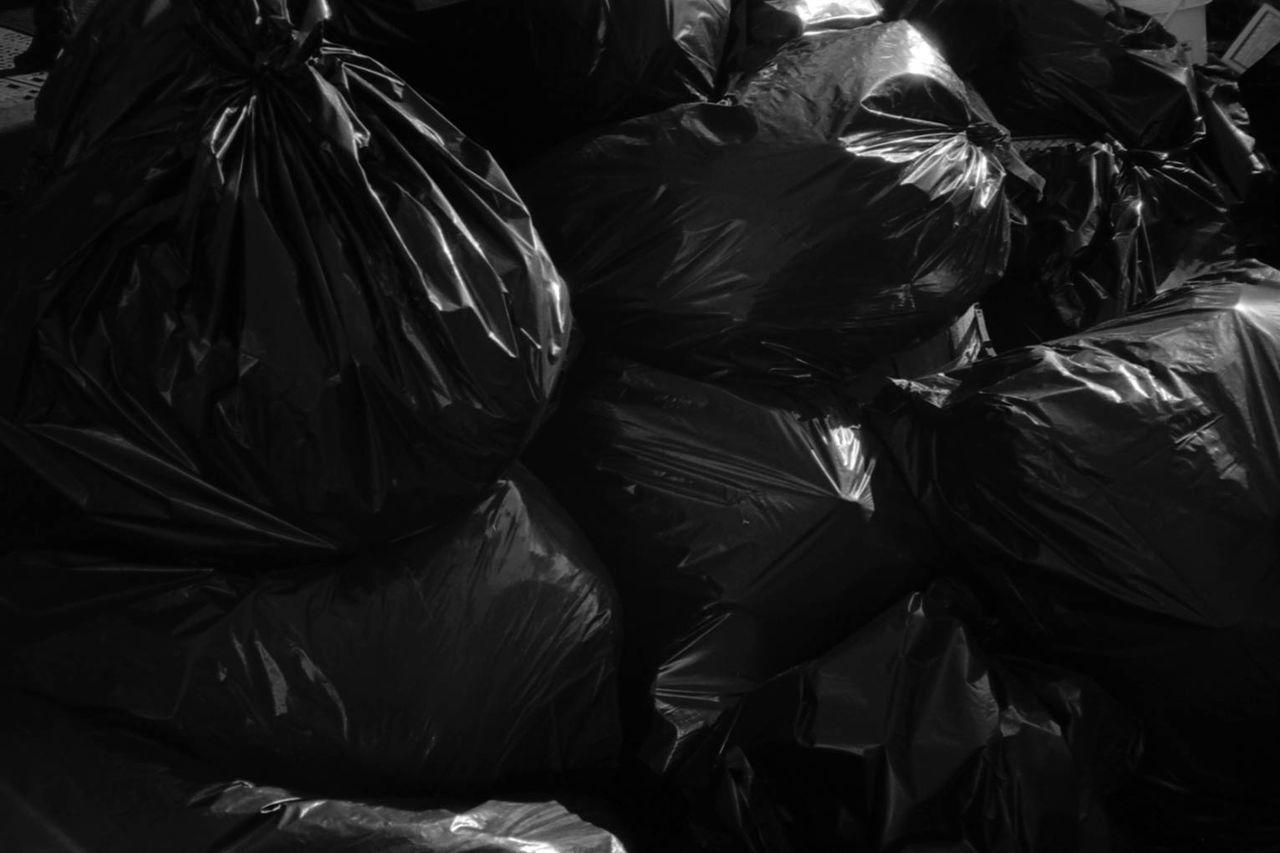 Full Frame Shot Of Black Plastic Bags