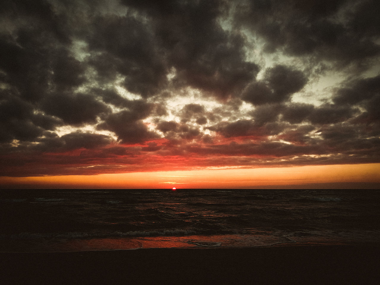 sun is gone. Awe Beach Beauty In Nature Cloud - Sky Dramatic Sky Horizon Over Water Idyllic Nature No People Outdoors Scenics Sea Sky Sunset Tranquil Scene Tranquility Water